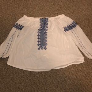 Madewell off the shoulder blue and white boho top